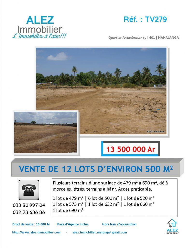 VENTE DE 12 LOTS D'ENVIRON 500 m² [13 500 000 Ar]  Terrain à batir Accès praticable  Immobilier Mahajanga